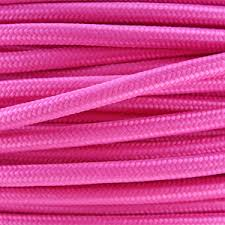 fabric lighting cable 3 core. Coloured Flex / Fabric Lighting Cable In A Bright Pink Finish. Round 3 Core C