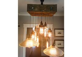 reclaimed beam lamp cage industrial chandelier