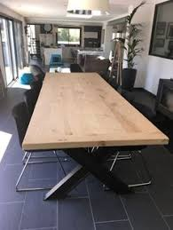 table style industriel avec pied en x