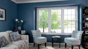 living room picture windows.  Room Living Room Window Blue Walls White Couch Intended Living Room Picture Windows