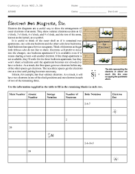 Electron Dot Structures Etc Worksheet For 9th 12th Grade