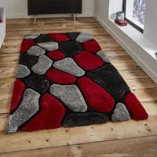 Image Persian Rugs Premium Rugs Think Rugs Noble House Nh5858 Grey Red Shaggy Rug 180cm 270cm