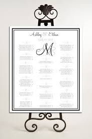 Printable Seating Chart For Wedding Reception Monogram Seating Chart For Wedding Table Assignments For
