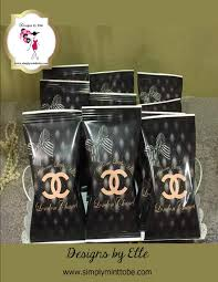 chanel inspired bags. coco chanel inspired potato chip, cookie, candy or popcorn bags personalized great for birthdays, weddings, sweet sixteen