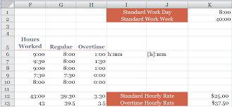 Timecard In Excel How To Calculate Overtime And Standard Hours Worked On A