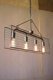 french industrial lighting. 4 Bulb Wire Mesh Caged Pendant - Les Spectacles French Industrial Lighting