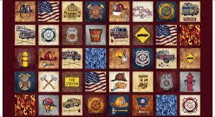 5 alarm firefighter blocks panel red by dan morris for quilting treasures fabrics
