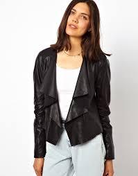 urban code urbancode leather waterfall jacket black