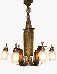 antieke vintage bronzen art deco hanglamp kroonluchter bronze art deco chandelier