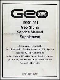 1990 1991 geo storm sir airbag system repair shop manual supplement