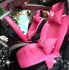 pink fluffy car seat covers cute leather universal car seat covers fashion female auto cushion sets