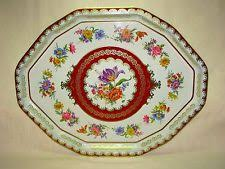 Daher Decorated Ware Tray Made In England Vintage Tin Daher Decorated Ware Floral Design Oval Serving Tray 14