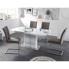 Esstisch Mit Stühlen Hochglanz Weiß Braun Omiera Wohnende