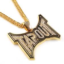 custom hip hop gold large tapout pendant necklace jewelry