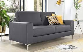 baltimore grey leather 3 seater sofa