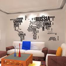 poster letter world map quote removable vinyl art decals mural living room office decoration wall stickers home decor art for office walls
