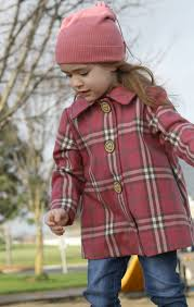 girls classic wool pea coat in rose pink plaid toodler size 1t 2t