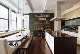 contemporary kitchen office nyc. contemporary kitchen and dining room chalkboard wall large windows dark brown hardwood floor island with storage office nyc