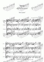 Spring from the four seasons flute quartet sheet music flute springs thumb flute springs diagram