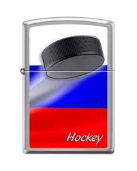 <b>Зажигалка Zippo Российский хоккей</b>, покрытие Brushed Chrome ...