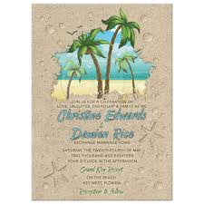 Beach Invitation Retro Palm Trees Beach Wedding Invitation