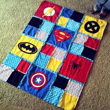 Pinteresting Summer: Superhero T-shirt Quilt & ... t-shirt quilt picture on Pinterest that I knew I wanted to do for his  bed (as I could find no bedding set on the market that matched what I was  looking ... Adamdwight.com