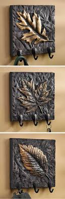 sculpted leaves wall hook collection 3 items