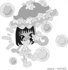 お洒落な赤の傘を持つ可愛い女の子のイラスト素材 25647850 Pixta