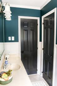 teal painted bathroom makeover blesserhouse com a boring dated beige bathroom gets