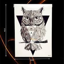 Nový Design Módní Dočasné Tetování Diamant Sova Pobočka B454