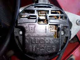 alternator terminals the embossing on the rear cover implies it is a common item for 15 16 and 17acr units but 17acrs on the mgb didn t have this two plug arrangement