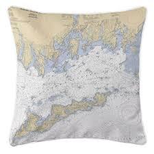 Island Girl Ct Fishers Island Sound Ct Nautical Chart Pillow