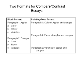compare contrast essay main objectives discuss the ways that  two formats for compare contrast essays block format paragraph 1 apples a