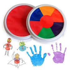 multicolor hand finger painting set colored craft ink pad pigment plate kids toys diy graffiti paint