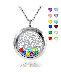 floating locket pendant necklace heart crystal family tree of life necklace all birthstone charms include cs186iedmmm
