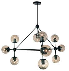 chandelier 10 light bulbs fixture with matte black steel material 44
