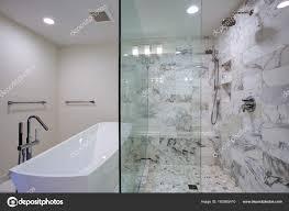 sleek bathroom with freestanding bathtub and walk in shower stock photo