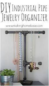 Diy Necklace Holder Diy Jewelry Organization With An Industrial Pipe Jewelry Organizer