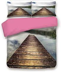 Amazon.com: Zimmer Landscape Duvet Cover 3PCS Set Jetty Stretching Over  Lake Rising Mist Hills Foggy Mysterious Landscape Comnforter Set King,Best  Gift Mother's Day Brown Blue Green: Home & Kitchen