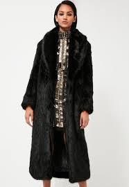 peace love black longline faux fur coat missguided jpg 600x869 black faux fur long coat