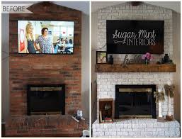 diy white washed fireplace makeover sugar mint co