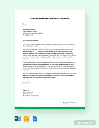 Free Letter Of Recommendation For Medical School From