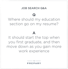 Education Section Of Resumes Where To Put Your Education Section On A Resume The Prepary