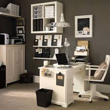 best modern office furniture. Attractive Modern Home Office With White Wooden Table And Swivel Chair On Cream Fluffy Rug Plus Grey Painted Wall Also Chrome Pendant Lamp Best Furniture M