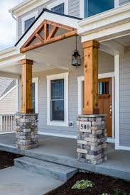 Amazing Gorgeous Front Porch! Wood And Stone Columns!
