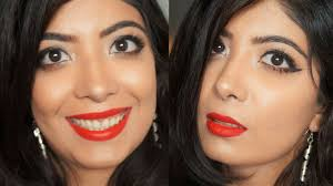 clic red lips full face makeup tutorial for indian skin ft mac ruby woo bhawna ahuja