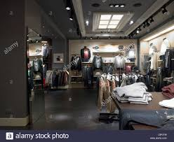 interior of a contemporary store in italy selling clothing clothes