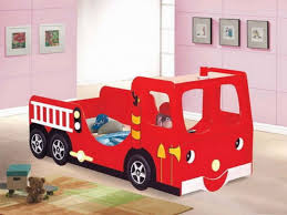 fire truck twin bed bunk art projects station wall mural lamp with night light bedroom kids