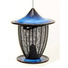 10 in cobalt blue ceramic feeder with cage