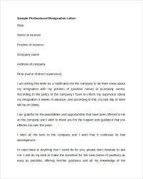 Sample Professional Resignation Letter Sample Professional Letter Format 9 Download Free Documents In